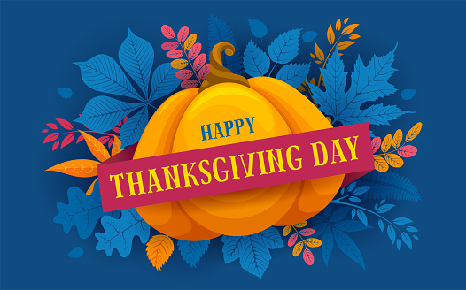 Happy Thanksgiving Day Celebration Typography Greeting Design With Autumn Leaves And Pumpkin