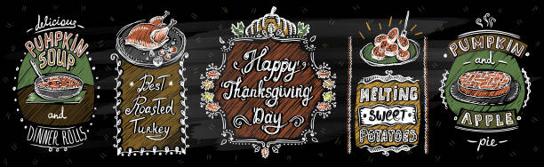 happy thanksgiving day chalkboard menu with classic dishes - pumpkin pie stock illustrations