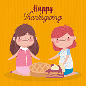 happy thanksgiving day cute girls with pie and slice cake vector illustration