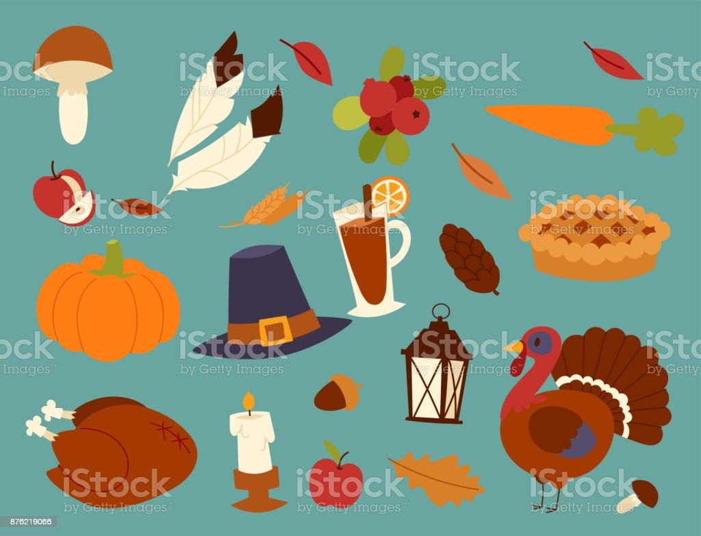 Happy thanksgiving day design holiday objects fresh food harvest autumn season vector illustration vector art illustration