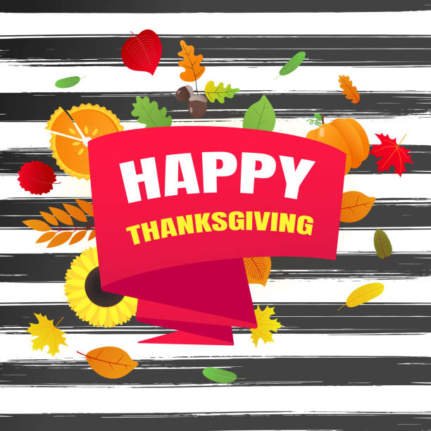 happy thanksgiving day flat style design poster vector illustration with turkey, text, autumn leaves, sunflower, corn and pumpkin. celebrate holidays! - pumpkin pie stock illustrations