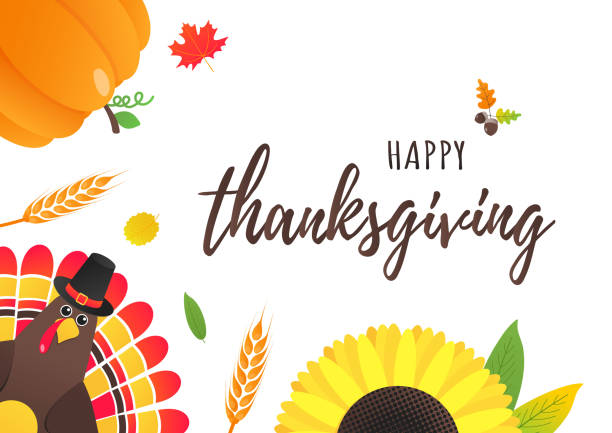 happy thanksgiving day flat style design poster vector illustration with turkey, text, autumn leaves, sunflower, corn and pumpkin. turkey with hat and colored feathers celebrate holidays! - pumpkin pie stock illustrations