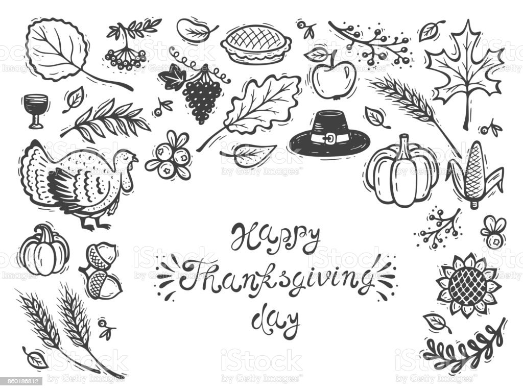 Happy Thanksgiving Day Greeting Card Autumn Harvest Symbols Fall