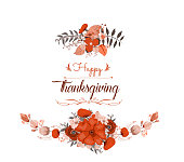 Happy Thanksgiving Day greeting card. bird and hand drawn letters