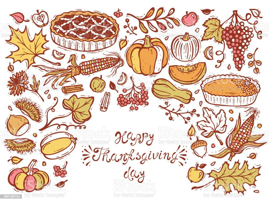 Happy Thanksgiving Day Greeting Card Cakes Fruits Vegetables Berries