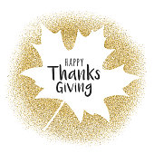 Happy Thanksgiving Day greeting card with golden glitter - Illustration