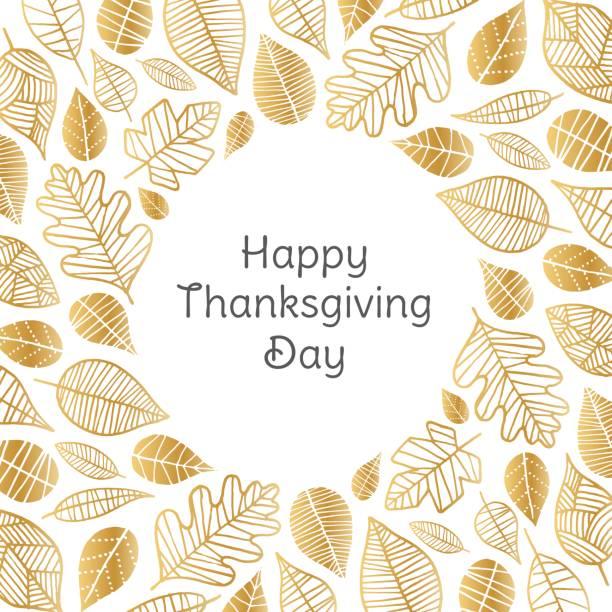 Carte de voeux Happy Thanksgiving Day avec feuilles d'or - Illustration vectorielle