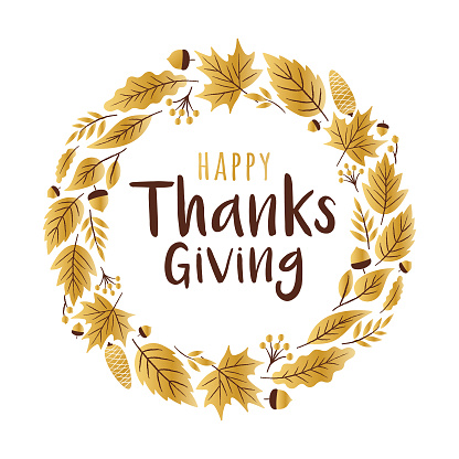 Happy Thanksgiving Day greeting card with golden leaves.