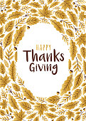 Happy Thanksgiving Day greeting card with golden leaves - Illustration