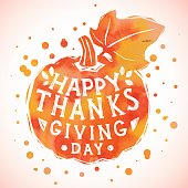 Happy Thanksgiving Day greeting card with pumpkin. Happy Thanksgiving banner, flyer. Vector illustration