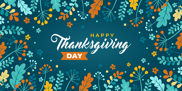 Happy thanksgiving day greeting. Vector banner, greeting card, background with text Happy thanksgiving. Vignette, frame Emblem with autumn leaves and berries. The leaves of oak, ash, green and orange.