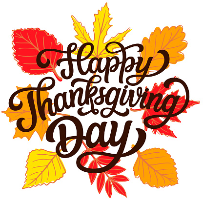 Happy Thanksgiving day. Hand lettering
