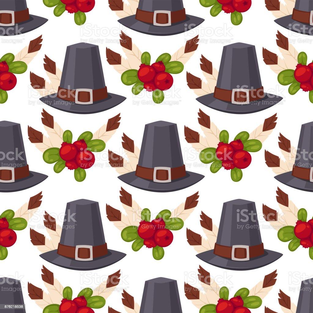 Happy thanksgiving day hats design holiday seamless pattern background harvest autumn season vector illustration vector art illustration