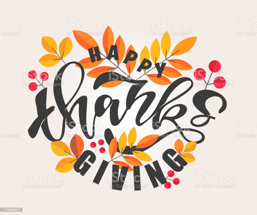 Happy Thanksgiving Day Hello Autumn Vibes Cute Template Hand Drawn Doodle Lettering Poster Banner Art Stock Illustration Download Image Now Istock