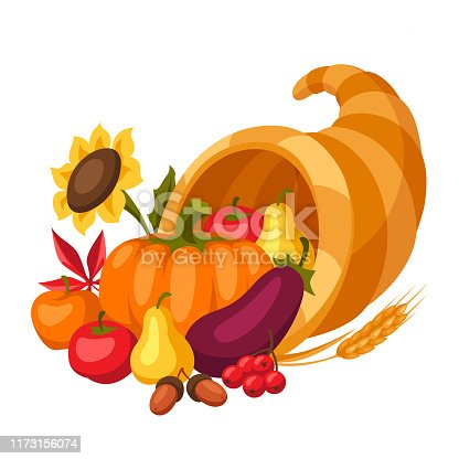 Happy Thanksgiving Day horn of plenty with seasonal fruits and vegetables.