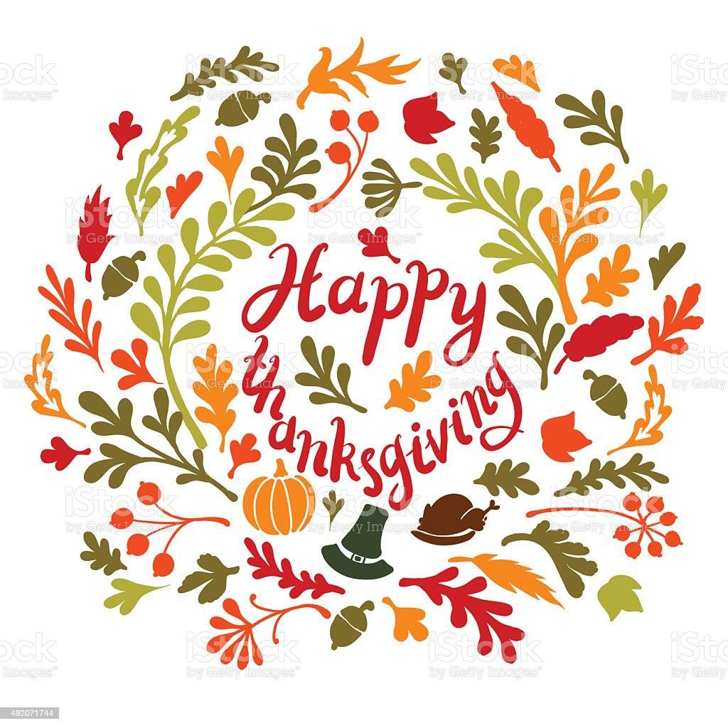happy Thanksgiving day leaves banner vector art illustration