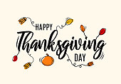 Happy Thanksgiving Day lettering with leafs and pumpkin. Vector illustration. EPS10