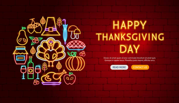 happy thanksgiving day neon banner design - thanksgiving turkey stock illustrations