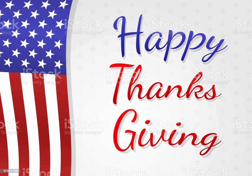 Happy Thanksgiving Day Poster With Usa National Flag Vector Stock
