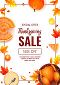 Happy Thanksgiving Day promo sale flyer with baked turkey, pumpkin pie, autumn leaves, apples, acorns on the white background. A4 vector illustration for poster, banner, special offer.