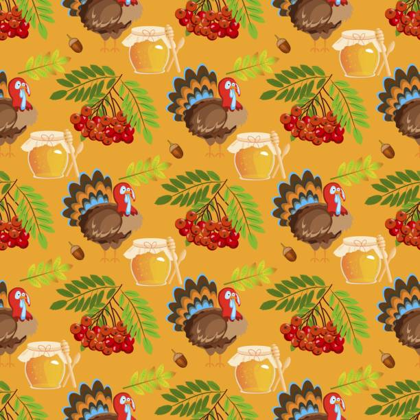 happy thanksgiving day seamless pattern with holiday objects in flat style. - pumpkin pie stock illustrations