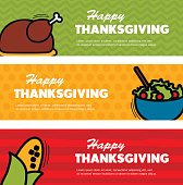 Happy Thanksgiving day. Three Thanksgiving banners, eps 10