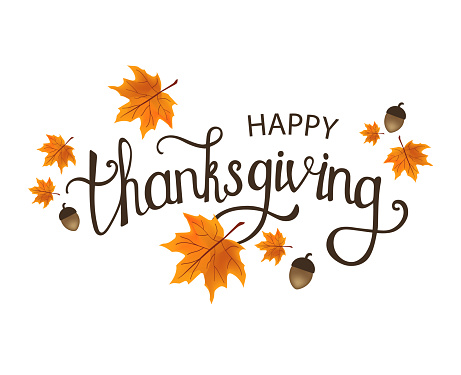 Happy Thanksgiving Day. Typography vector design. Design template. Colorful autumn leaves. Fall Autumn Harvest.