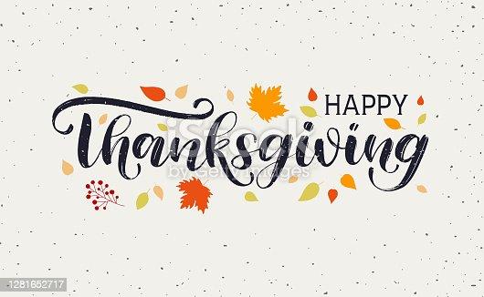 istock Happy Thanksgiving Day typography vector design 1281652717