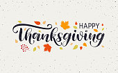 Happy Thanksgiving Day typography vector design for greeting cards and poster on textured autumn leaves background. Happy Thanksgiving lettering, logo, inscription, label
