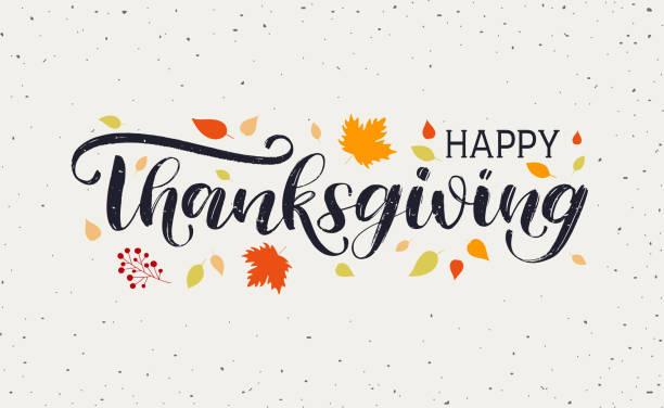 illustrazioni stock, clip art, cartoni animati e icone di tendenza di happy thanksgiving day typography vector design - tavola imbandita