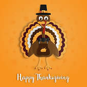 Happy Thanksgiving day with turkey paper art on yellow orange background. Holiday and festival concept. Decoration and greeting card theme.