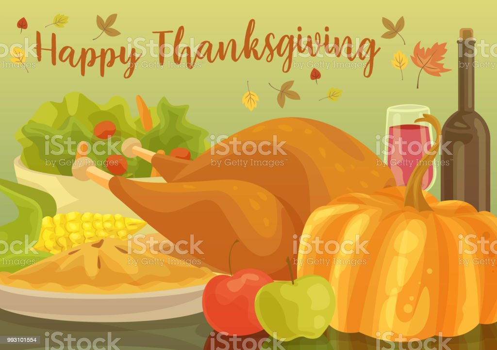 Happy Thanksgiving Dinner vector art illustration