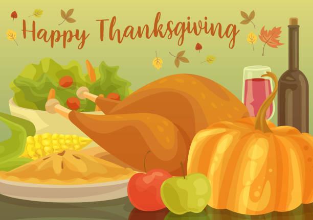 Happy Thanksgiving Dinner vector art illustration