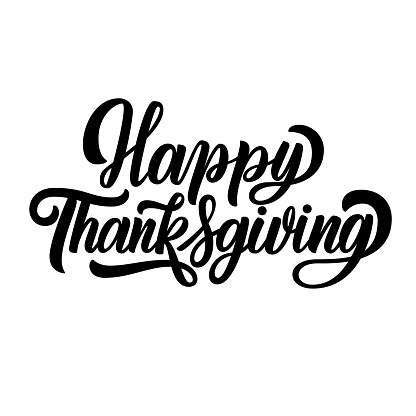 Happy thanksgiving fancy brush hand lettering