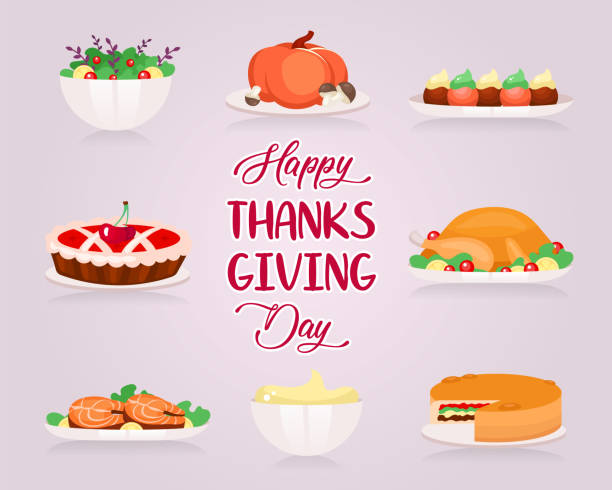 happy thanksgiving flat greeting card vector template. different types of holiday food. turkey and cherry pie. postcard design with cartoon illustrations. banner, poster layout with typography - pumpkin pie stock illustrations