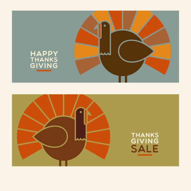 happy thanksgiving flat minimalist design elements. abstract modern turkeys and text designs. - thanksgiving turkey stock illustrations