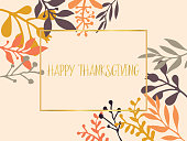 Happy Thanksgiving gold foil text vector with hand drawn autumn leaves orange, yellow, brown on bleige background. Holiday lettering illustration. Greeting cards, Holiday party, poster, banner, blogs
