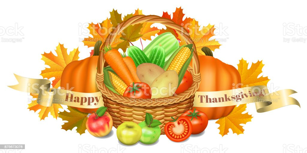 Happy thanksgiving greeting card basket with vegetables apples and happy thanksgiving greeting card basket with vegetables apples and pumpkin corn and maple m4hsunfo