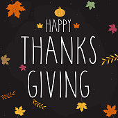 Happy Thanksgiving greeting card hand lettering on black background. Vector illustration. EPS10