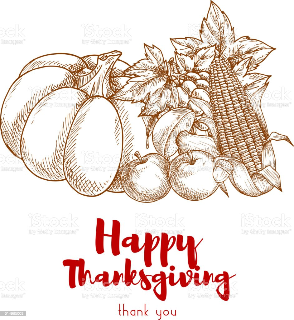 Happy Thanksgiving greeting with autumn harvest vector art illustration