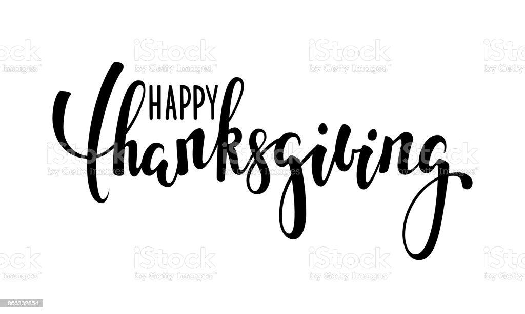 happy Thanksgiving. Handgezeichnete Kalligraphie und Pinsel Stift Schriftzug. Design für Urlaub Grußkarte und Einladung der saisonalen amerikanischen und kanadischen Herbstferien. – Vektorgrafik