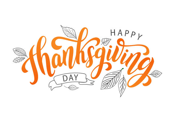 happy thanksgiving. hand drawn text lettering card. vector illustration. - thanksgiving stock illustrations