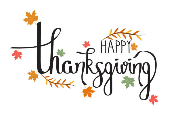 Happy Thanksgiving hand drawn typography. Poster with handwritten lettering on white background. Vector illustration. vector art illustration