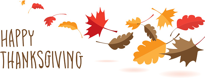 Happy Thanksgiving hand lettered greeting design with fall leaves