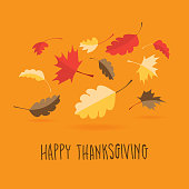 Vector illustration of a colorful Happy Thanksgiving hand lettered greeting design with fall leaves. Easy to edit with layers.