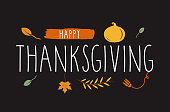 Happy Thanksgiving hand lettering black background with. Vector illustration. EPS10