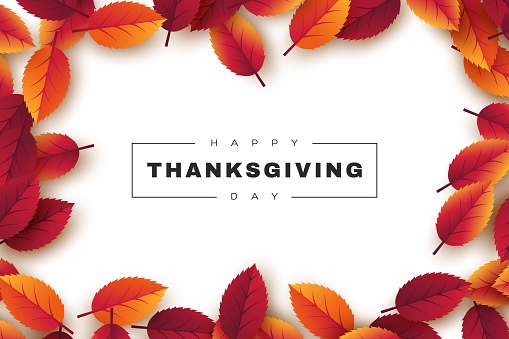 Happy Thanksgiving holiday design with bright autumn leaves and greeting text. White background, vector illustration.