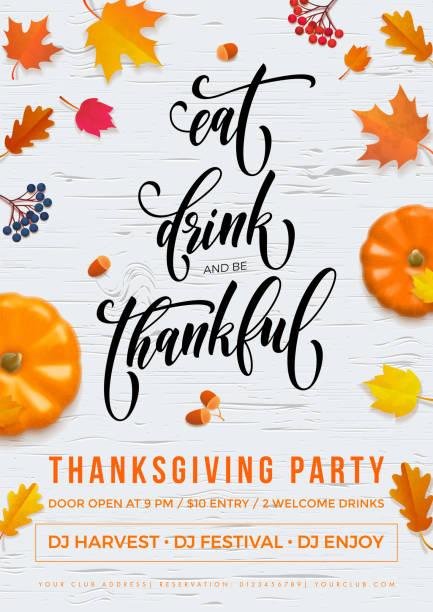 bildbanksillustrationer, clip art samt tecknat material och ikoner med happy thanksgiving semester part hösten vektor pumpa blad gratulationskort - falla
