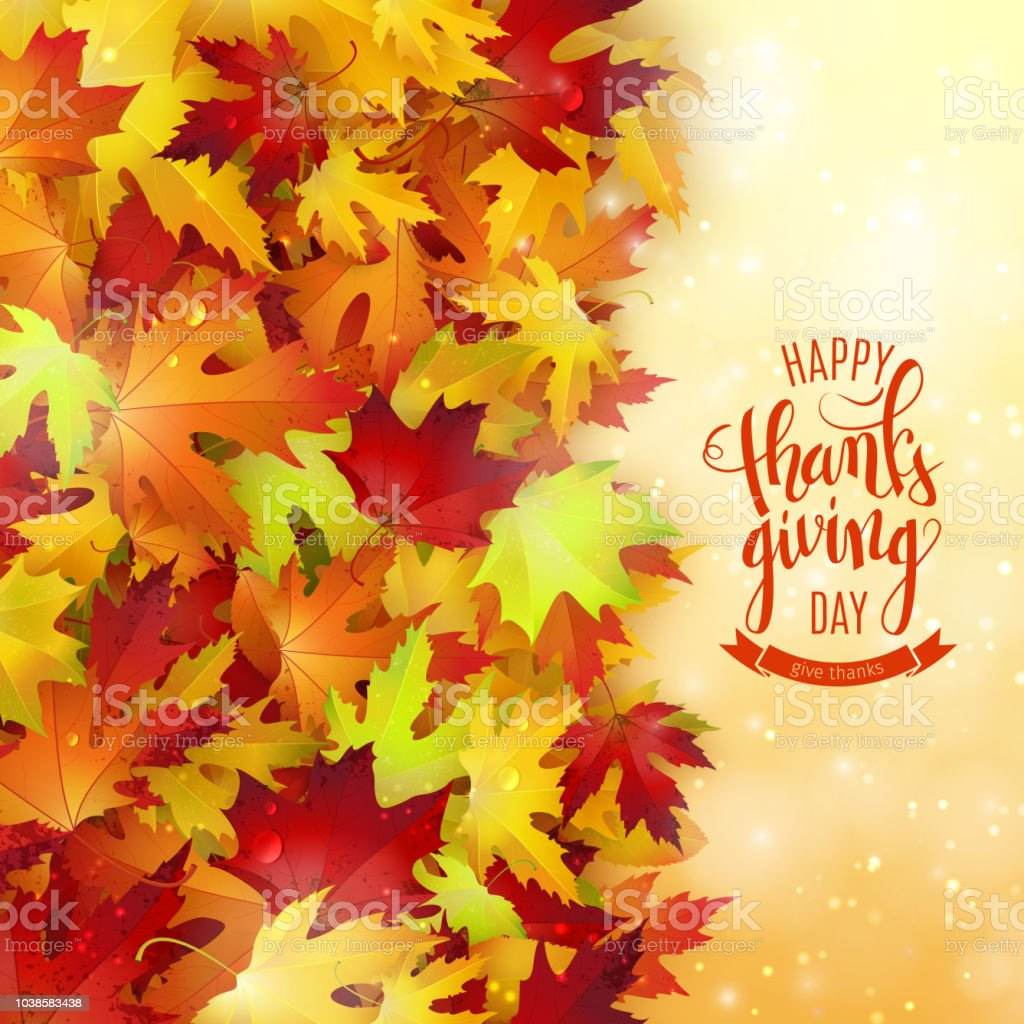 幸せな感謝祭の休日のポスター秋紅葉背景筆ペン書道ベクトル イラスト