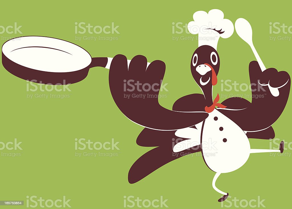 Happy Thanksgiving Holiday Turkey Chef Cooking royalty-free stock vector art
